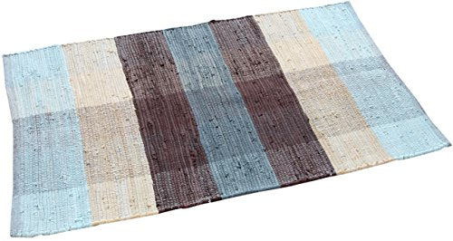 TrendSetter Homez MEGA Sales Chindi Rug Check Design 2 x 3 Ft Cotton Hand Woven Flat Weave Area Rug (Light Blue)