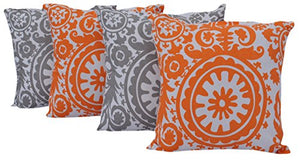 "Queenzliving Ultra Luxury Cotton Throw Pillow Cushion Covers 18"" x 18"" - NO FILLERS - Set of 4 in 2 Colors (SUZANI Design)"