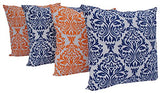 "Queenzliving Ultra Luxury Cotton Throw Pillow Cushion Covers 18"" x 18"" - NO FILLERS - Set of 4 in 2 Colors (Damask Design)"