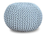 "Queenzliving 100% Cotton Hand Knitted Twisted Cable Style Dori Pouf/Floor Ottoman Size 20"" Inches Diameter 14"" Inches Height"