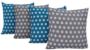 Queenzliving Ultra Luxury Cotton Throw Pillow Cushion Covers - Set of 4 (Polka Design)