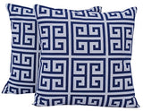 "Queenzliving Ultra Luxury Cotton Throw Pillow Cushion Covers 18"" x 18"" - NO FILLERS - Greek Design - Set of 4 in 2 Colors"