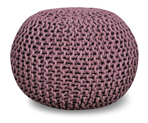 Queenzliving 100% Cotton Hand Knitted Twisted Cable Style Dori Pouf/Floor Ottoman Size 20