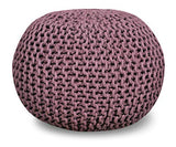 "Queenzliving 100% Cotton Hand Knitted Twisted Cable Style Dori Pouf/Floor Ottoman Size 20"" Inches Diameter 14"" Inches Height (Chocolate)"