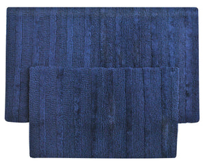 "Super Soft Set of 2 Reversible Bath Rugs - 100% Cotton 21"" x 34"" / 17"" x 24"" Reversible Bathroom Rugs Set Queenzliving Bathmat Canterbury Collection (Navy Blue)"