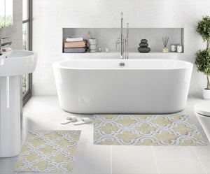 Trellis Design Large Bathmat -Set of 2 Bath Rugs (Ivory)