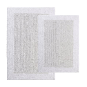 TrendSetter Homez MEGA Sales Dakar Stripe 100% Cotton Hand Tufted Elite Bath Rugs Set of 2 (Reversible Bathroom Rugs) Size 21 x 34/17 x 24 Inches Machine Washable Bathroom Rugs (White)
