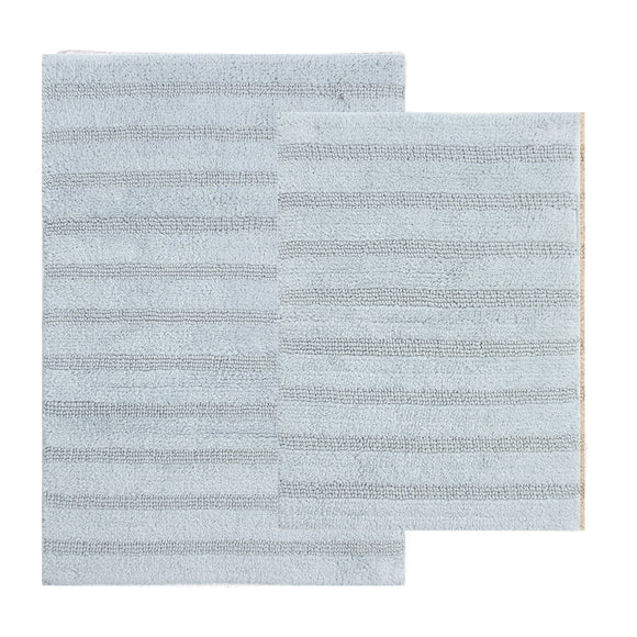 TrendSetter Homez Cyber Sales Canterbury Stripe 100% Cotton Hand Tufted Elite Bath Rugs Set of 2 (Glacier)