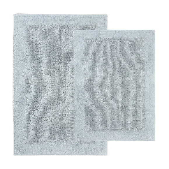 TrendSetter Homez Dakar Stripe 100% Cotton Hand Tufted Elite Bath Rugs Set of 2 (Reversible Bathroom Rugs) Size 21 x 34/17 x 24 Inches Machine Washable Bathroom Rugs (Glacier)