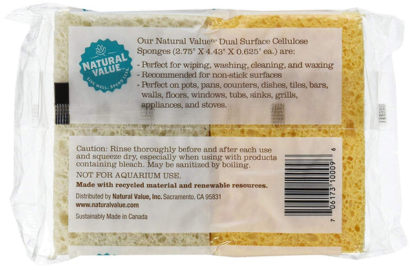 Recycled Dual Surface Cellulose Sponge 4 pack