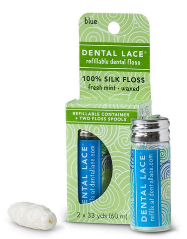 Compostable Dental Floss Blue with refill refillable glass jar recyclable