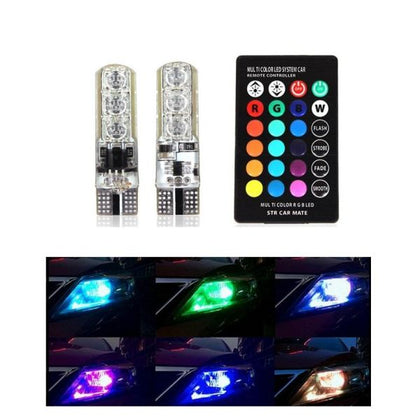 SMDs LED Car Parking Light Bulbs Pair Remote Control