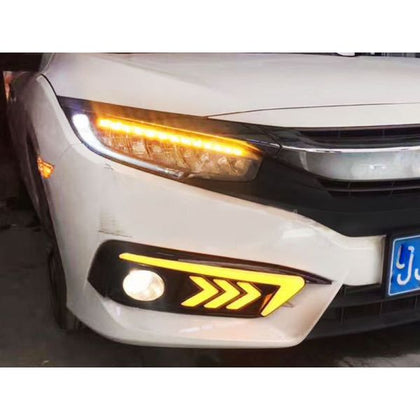 New Style LED DRL Fog Light Covers For Honda Civic 2016 - 2020