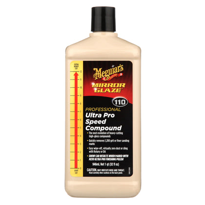 MEGUIAR'S M110 MIRROR GLAZE ULTRA PRO SPEED COMPOUND – HEAVY CUT, HIGH GLOSSS , 32 oz
