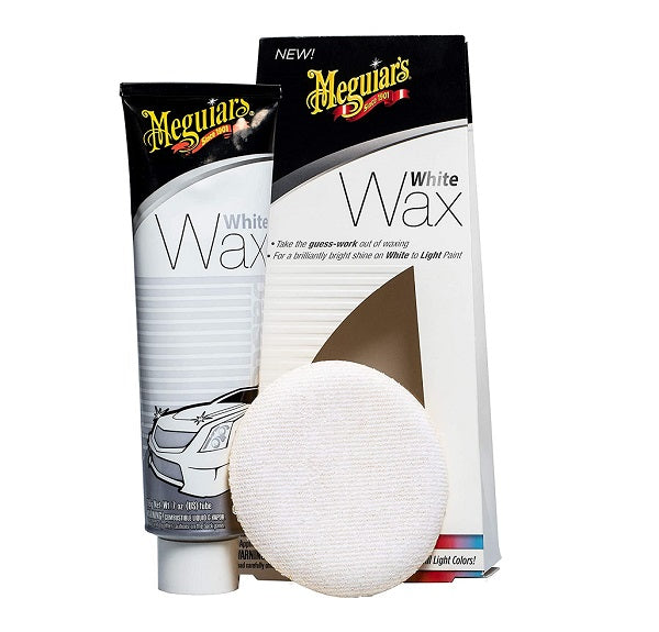 MEGUIAR'S WHITE WAX 7 OZ TUBE WITH APPLICATOR PAD