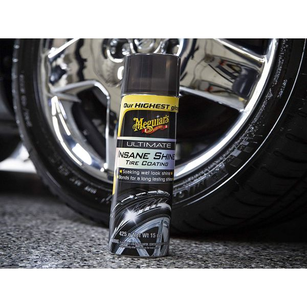 MEGUIAR'S ® ULTIMATE INSANE SHINE™ TIRE COATING – SOAKING WET -LOOK TIRE SHINE , 15 oz