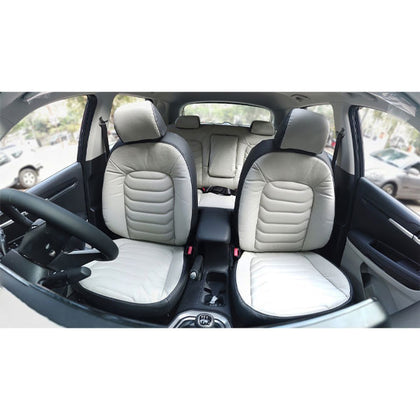 Japanese Leather Seat Cover Black & White Color