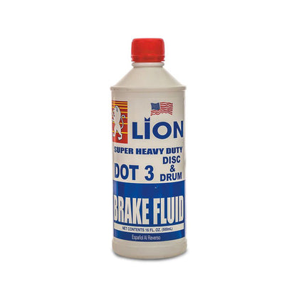 Lion Super Heavy Duty Dot 3 Disc & Drum Brake Fluid - 500ML - 16 Oz