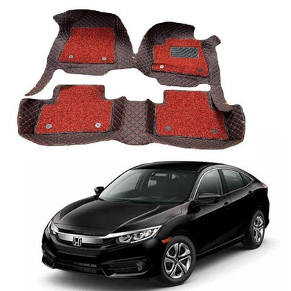 Honda Civic-X High-Quality 9D Mat Red Model 2018-2020