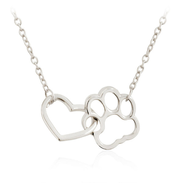 Shellhard Vintage Kolye Linked Pets Dog Cat Pendant Necklaces Charm Hollow  Heart Dog Paw Footprint Love Necklace Femme Jewelry