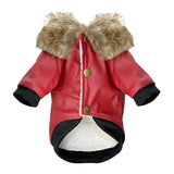 Waterproof Dog Leather, Fur Winter Jacket