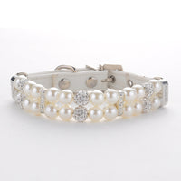 White Leather & Pearl Dog Collar
