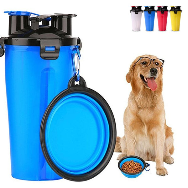 Pet Bottle Feeder 2 in 1 Portable Food & Water Cup and Foldable Dog Water Bowl