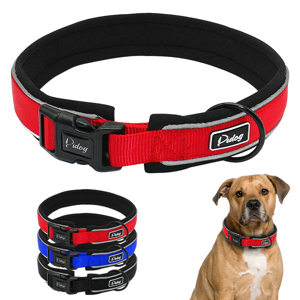 Thick Padded Nylon Neoprene Reflective Dog Collar S,M,L,XL