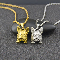 Vintage Big Long French Bulldog Dog Pendant Necklace