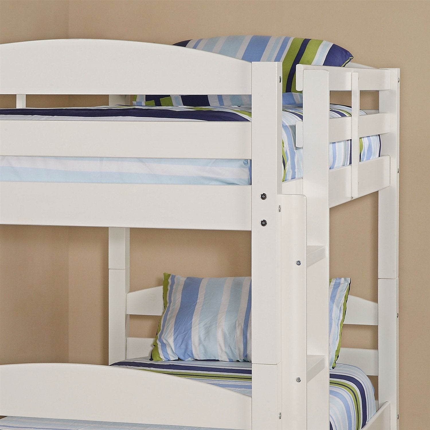 White Wood Twin Over Twin Bunk Bed With Ladder And Guardrail Decor
