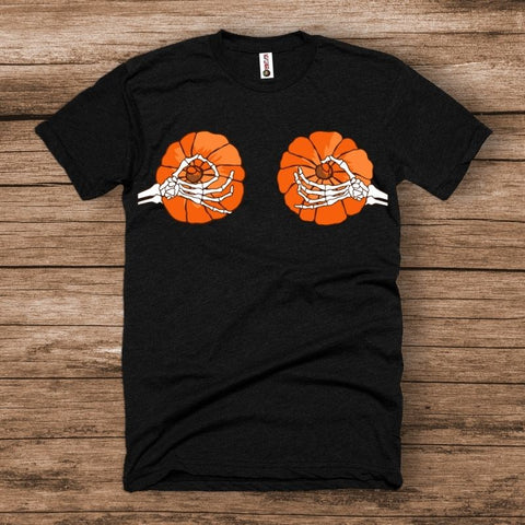 Skeleton Pinching Pumpkin Hands Halloween Shirt