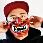 Japanese Samurai Demon Oni Kabuki Halloween Face Mask Cover