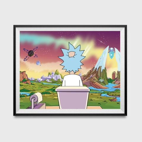 Rick and Morty Inspired Bathroom Poster 11x17
