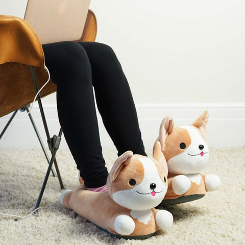 Corgi USB Heated Slippers