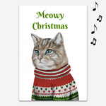 Meowy Christmas Endless Prank Holiday Card with Glitter