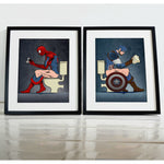 Spiderman Captain America On The Toilet Poster Set (Set of 2)