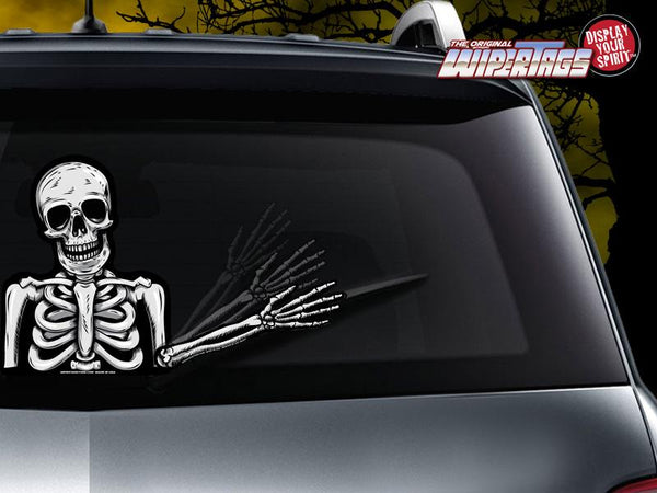 Skully the Waving Dead Skeleton Wiper Tag