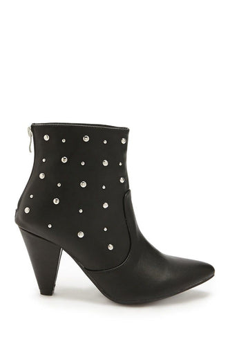 Faux Leather Studded Ankle Booties