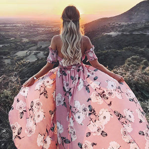 Strapless summer style long dress Women high split elastic floral maxi dress Elegant chiffon boho causal dress