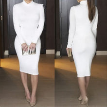 Load image into Gallery viewer, European And American Long-sleeved Sexy Women's Nightclub Solid Color Dress
