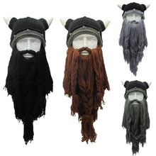 Load image into Gallery viewer, Funny Cosplay Men Knitted Viking Beard Horn Hat Ski Mask