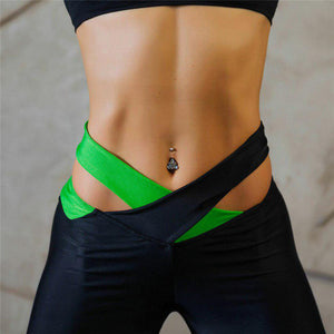 Cross Band Belt women yoga pants sexy skinny legging long leggings tie waist design gym fitness sports lady running trousers