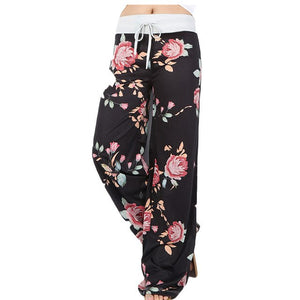 Summer Women Pants Floral Drawstring Leisure Trousers Full Length Pocket Casual Loose Wide Leg Long Pant Summer Soft Casual