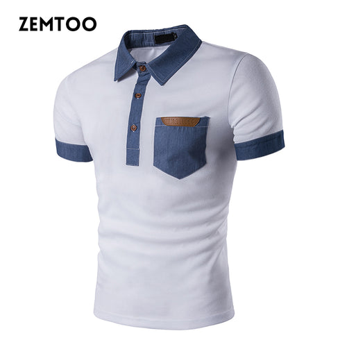 Brand Clothing Summer Men's Polo Shirt Fashion Cowboy Stitching Short Sleeve Polo