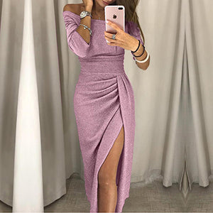 Fashion lady sexy one-shoulder dress autumn long-sleeved knee-length dress
