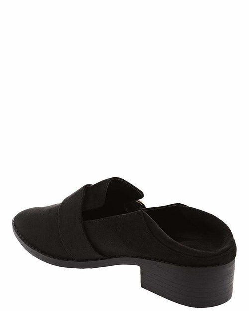 Large Buckle Black Low Heel Shoes