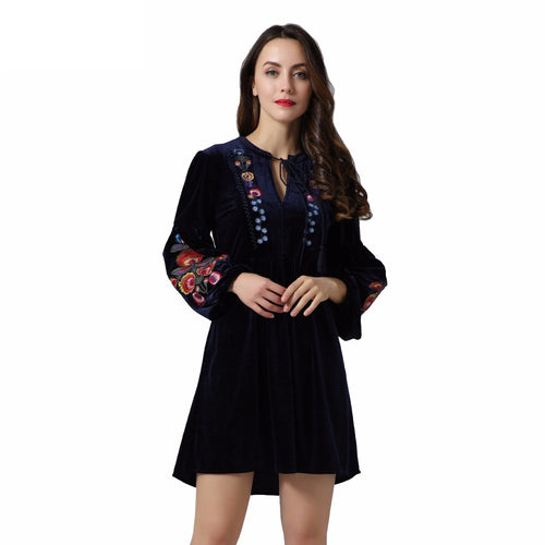 Vadim vintage floral embroidery velvet dress bow tie neck lantern sleeve cute casual tassel loose pleated dresses vestidos