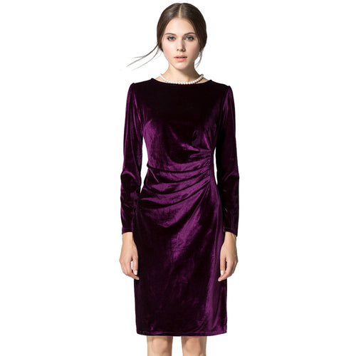 Autumn Winter Dress Women Vintage Solid Long Sleeve Velvet O-Neck Pencil Dress Elegant Female Slim Party Dresses Vestidos