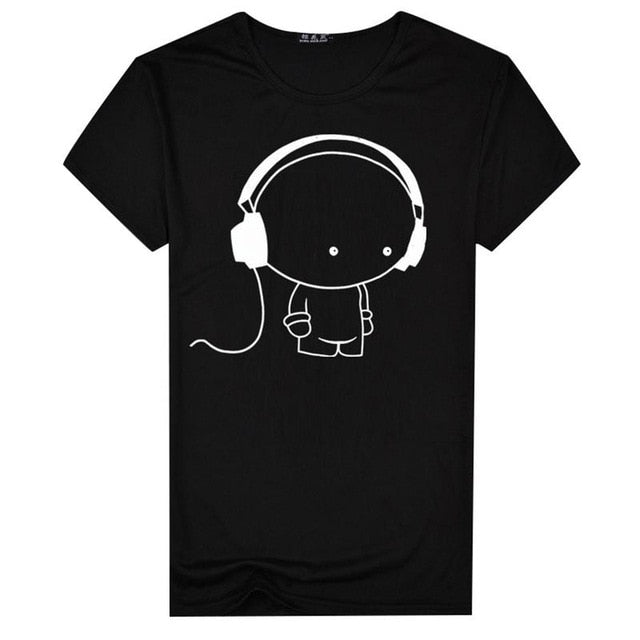 Men Short Sleeve T-Shirt Headphone Man Cartoon Pattern Print T-Shirt Fashion Casual Round Neck Slim Fit Top Male