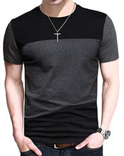 Load image into Gallery viewer, FRTCV Mens Casual T-Shirts Fashion Slim Fit Short Sleeve T Shirt US XL/Asian 5XL Black D6043
